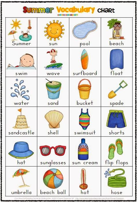 english vocab themes summer themed vocabulary cards with record sheets