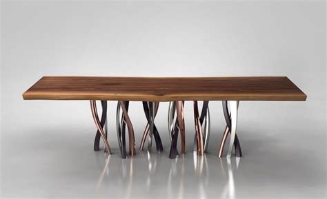 Dining Room Furniture Denver live edge dining table with curvaceous intertwined brass legs