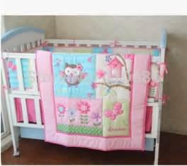 Pink birdie owl flowers 7pcs girl baby crib bedding set cot kit