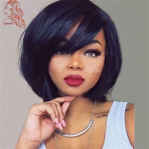 Black Hairstyles Wigs by Black Wigs With Bangs Realistic Lace Front Wig