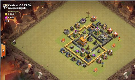 layout pertahanan coc th 5 nick khairyz of troy