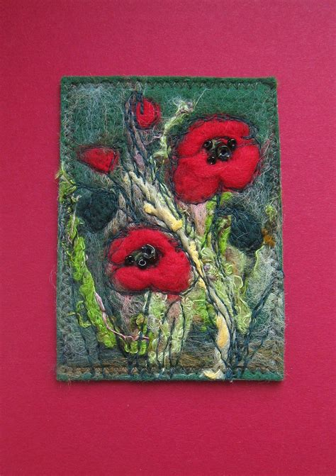 needle felted poppy picture   etsy fibers