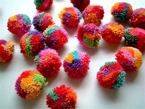 Handmade Pom Pom Decorations - mixed colors pom poms yarn pom poms cotton pom pom yarn