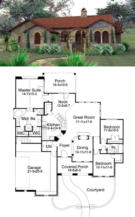 Tuscan Style House Plans With Courtyard Front Courtyard Clay Tiles And Tuscan Style On