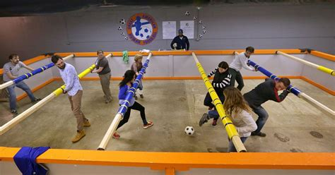 Full Size Foosball Table Human Foosball Features Breath Stealing Twists Turns