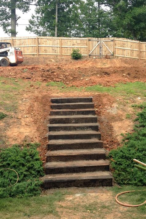 backyard steps rail road ties stairs landscaping stairs the counting