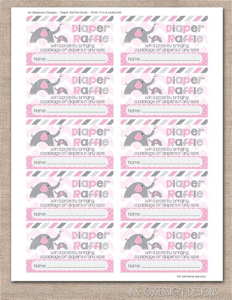 printable bridal shower raffle tickets pink elephant printable diaper raffle tickets ink