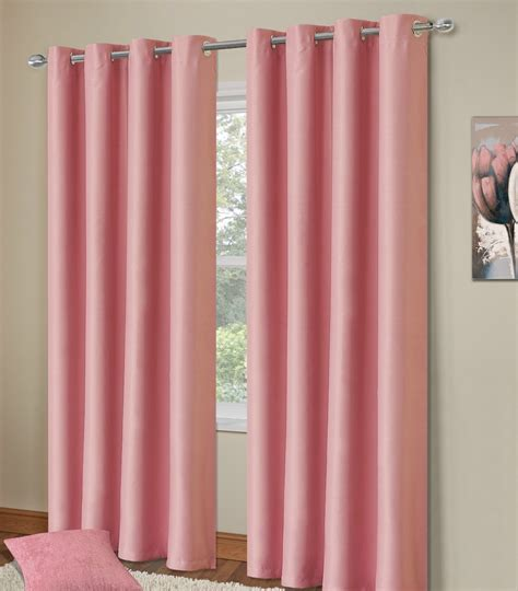 Pink Blackout Curtains Plain Baby Pink Colour Thermal Blackout Bedroom Livingroom Readymade Curtains Ringtop Eyelets