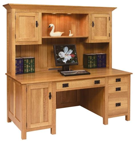 Amish Large Mission Computer Desk With Hutch Top Mission Style Desk With Hutch