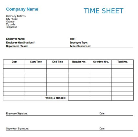 free excel timesheet template employees employee timesheet template 6 time sheet templates