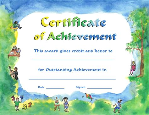 child certificate template outstanding achievement certificate template best