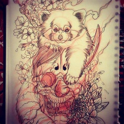 panda japanese tattoo red pandas pandas and skulls on pinterest