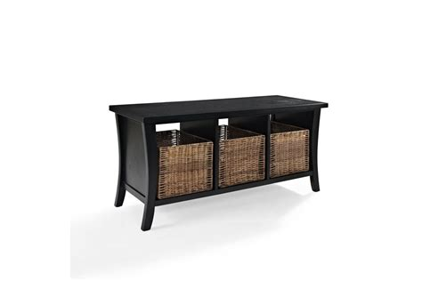 black and white storage bench wallis entryway storage bench in black by crosley at