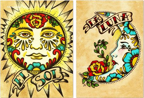 la luna tattoo school print loteria el sol la 5 x 7