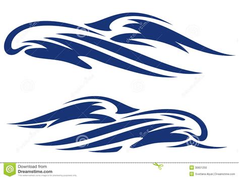 collection of simple wave vector illustration of 14 simple tribal waves vector images simple wave