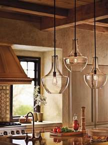 Kitchen Glass Pendant Lighting Kichler Lighting 42046oz Everly 1 Light Pendant Bronze Finish With Clear Glass