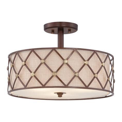copper semi flush light quoizel brown lattice semi flush ceiling light in copper
