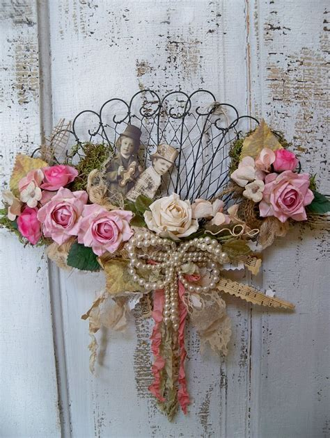 Pink Lace Fan Cover Shabby Vintage Home Decor Flower shabby chic fan decorated wall decor ooak
