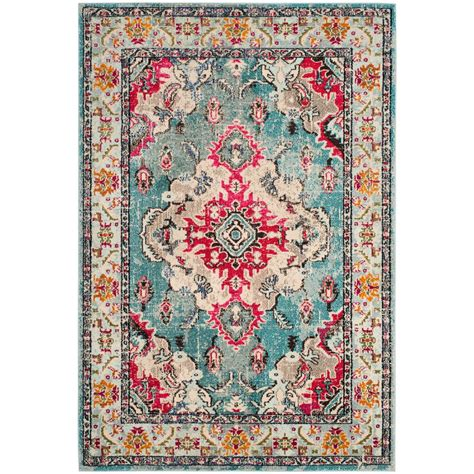 colorful rugs for safavieh monaco light blue fuchsia 9 ft x 12 ft area rug mnc243j 9 the home depot
