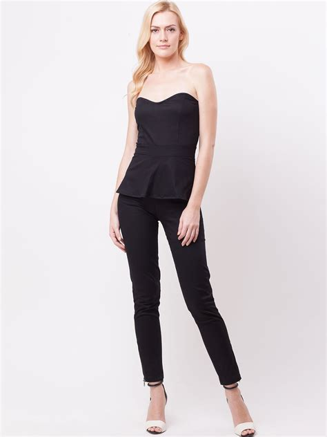 Yumico 3 In 1 Jumpsuit buy koovs bustier strapless peplum jumpsuit for s black jumpsuits in india