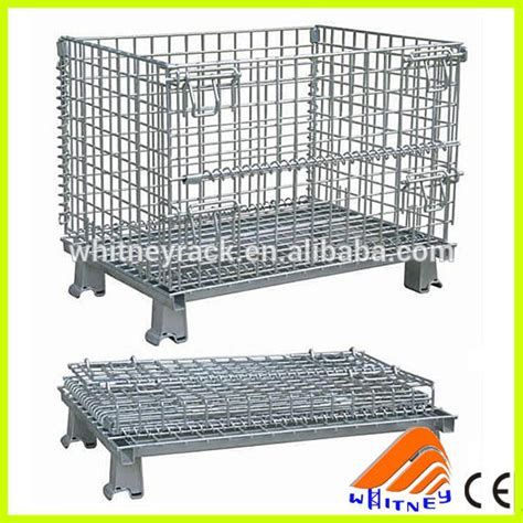 Kontainer Lipat Medium Folding Container Box Multifungsi foldable wire pallet mesh cage container with wheel products collapsible storage boxes beli