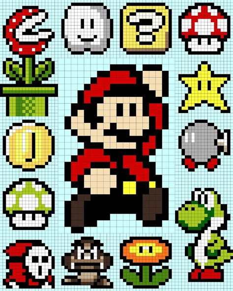 Drawing 8 Bit Characters by Mario 16 Bit Grid Www Imgkid The Image Kid Has It