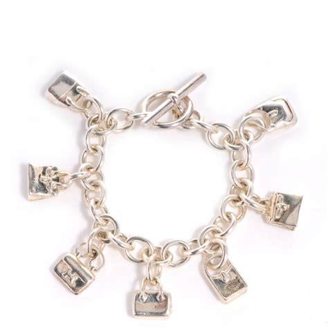 HERMES Sterling Silver 7 Bags Charm Bracelet 67144