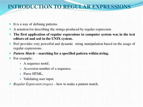 pattern matching regular expression in perl strings patterns and regular expressions in perl