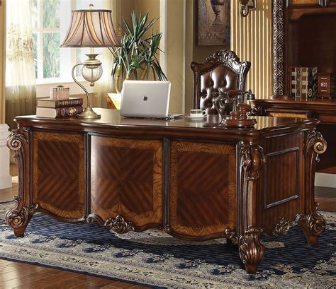 Ornate Executive Desk by Vendome Traditional Ornate 5 Drawer Executive Desk In
