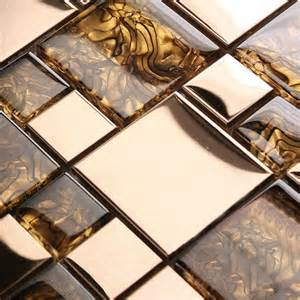 Wholesale Backsplash Tile Kitchen Mosaic Tiles Wall Deco Mesh Amber Pattern Crystal Glass