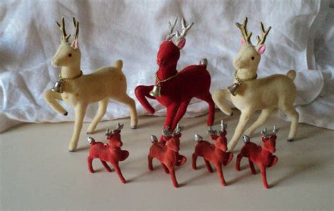7 vintage flocked reindeer deer 1960s made in by