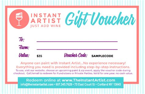 gift certificates  instant artist