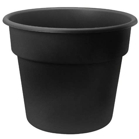 bloem 8 in black dura cotta plastic planter dc8 00 the