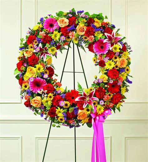 colorful sympathy wreath avas flowers