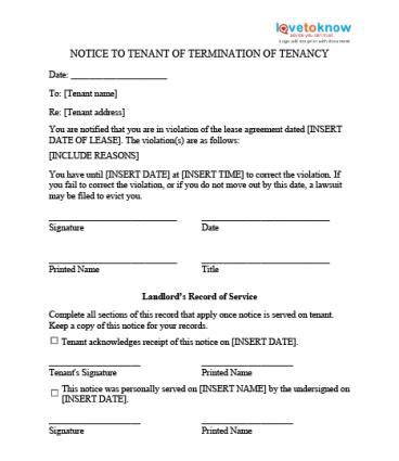 Eviction Notice Templates Lovetoknow Tenant Eviction Letter Template