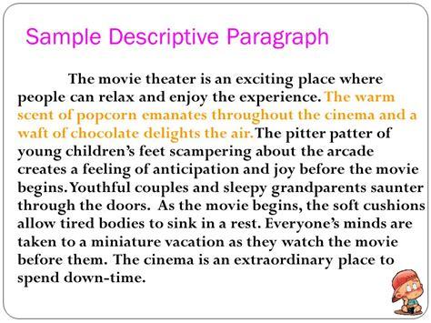 Exles Of A Descriptive Essay About A Place by Descriptive Paragraphs Ppt