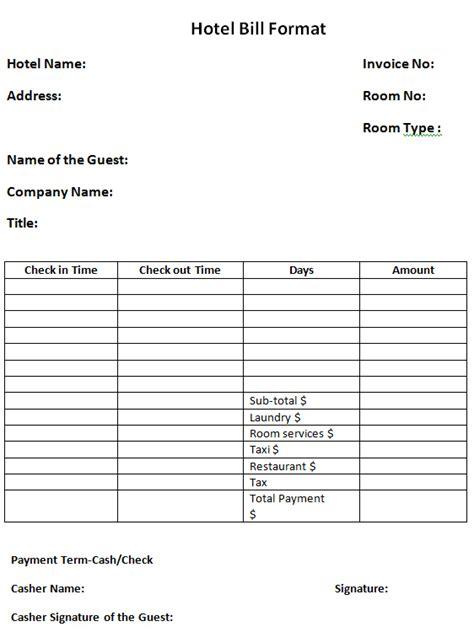hotel receipt template pdf hotel food bill format free rabitah net