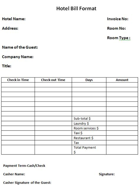 hotel bill template word recent vision format restaurant