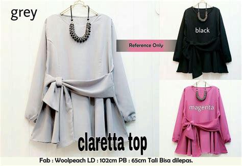 Fashion Wanita Muslim Atasan Tunik Nana Bahan Woolpeach jual baju atasan wanita blouse tunik clara ribbon