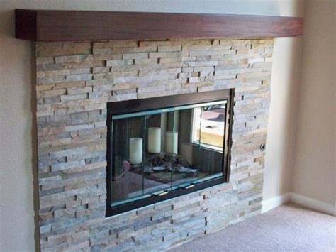 natural stacked stone fireplace contemporary living