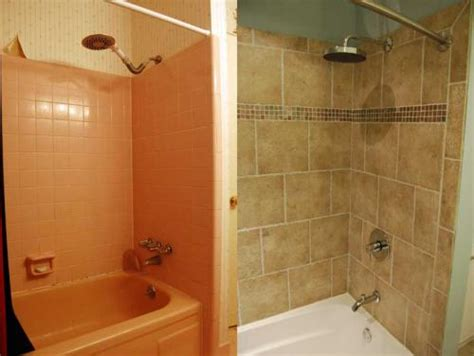Before And After Shower by Bathroom Facelifts Combine Design Functionality