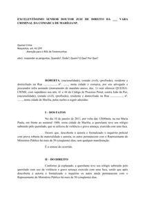 Modelo Queixa-Crime - Prática Jurídica III