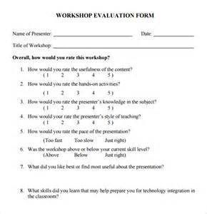 sample workshop evaluation form 10 documents in pdf word