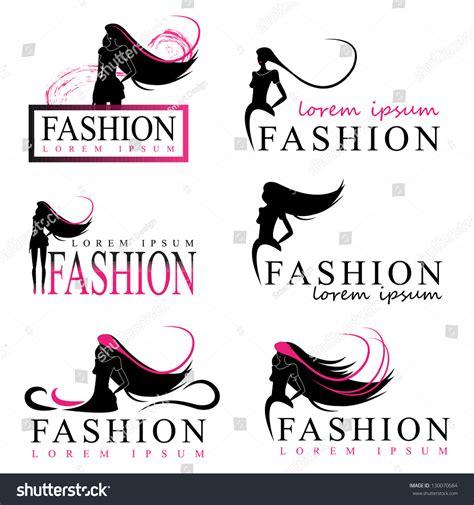 fashion logo design illustrator fashion silhouette isolated on white stock vector