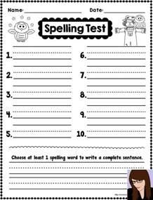 free printable spelling test template printable spelling test template search results