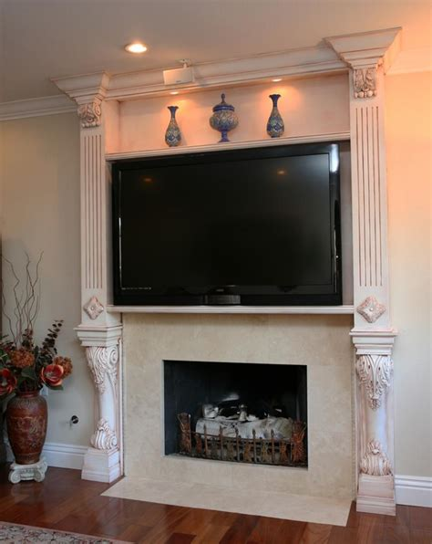 decorating fireplace mantel with tv above