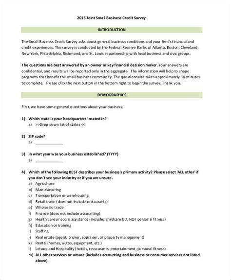 business survey template 29 survey questionnaire exles pdf