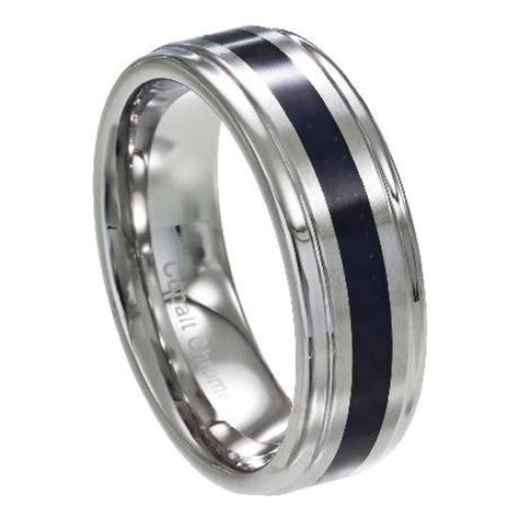 mens cobalt wedding band carbon fiber inlay
