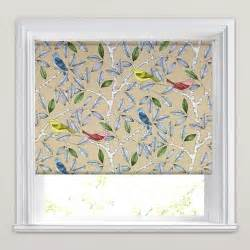 Beige red blue amp yellow songbird printed roller blinds