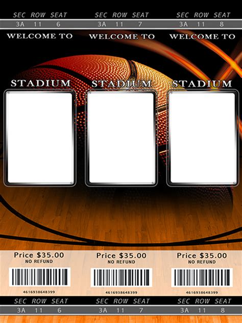 sport ticket template basketball photo templates